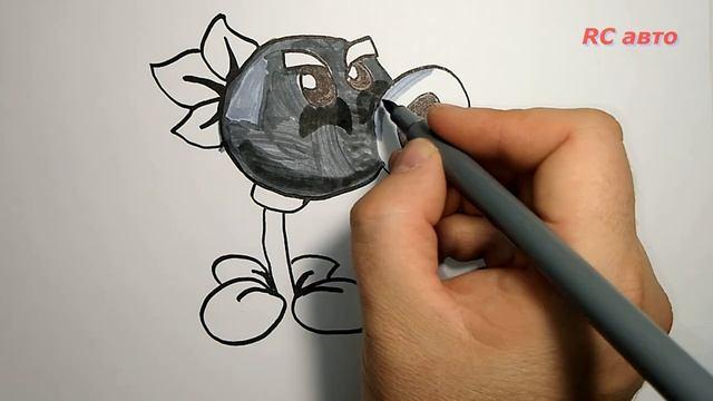 Как нарисовать горохострел_how to draw a Peashooter _ Растения Против Зомби_Plants vs Zombies