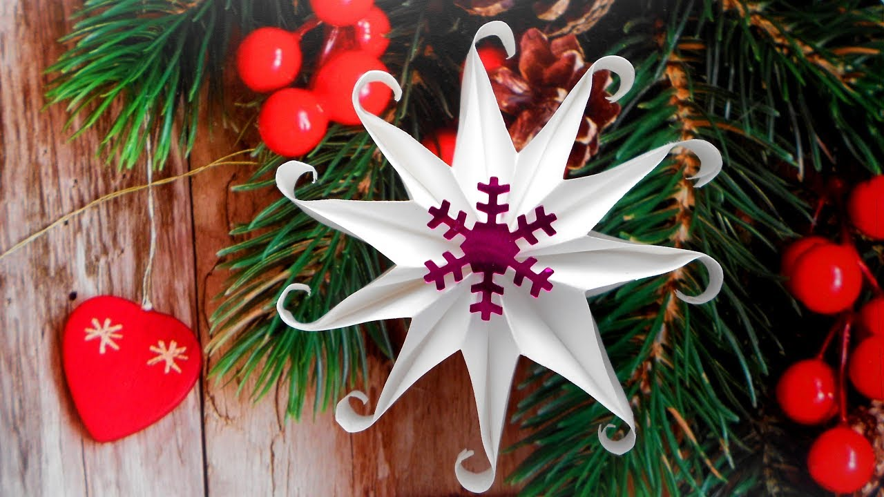 Снежинка из бумаги  Новогодние поделки своими руками