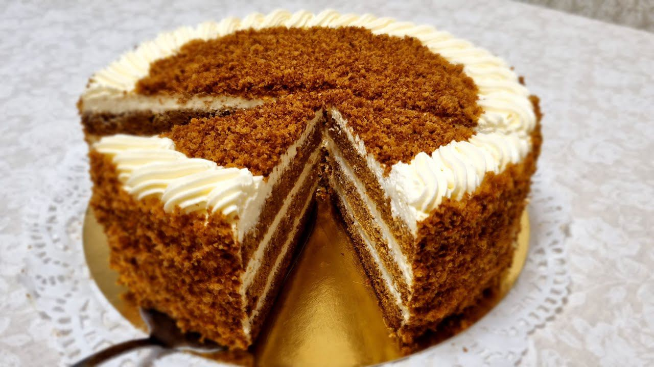Торт Медовичок. Лёгкий  крем на сливках и сметане  / Honey cake