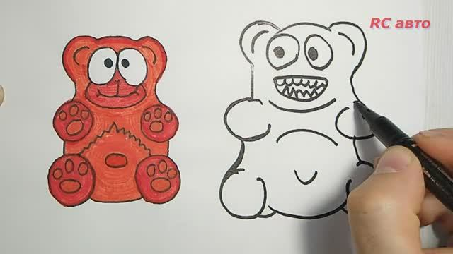 Как нарисовать медведя Валеру _ how to draw a Bear_ рисунки для срисовки