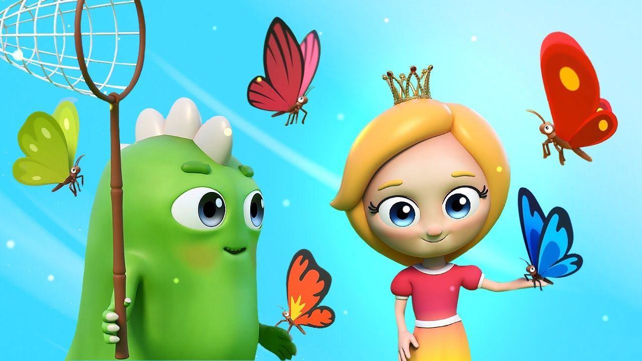 Мультфильм песенка с Синой и Ло. Детская песенка про бабочек. 5 ярких бабочек на лугу летали.